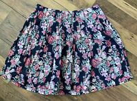 FAT FACE Skirt Size UK 12 Navy BLUE   FLORAL Flare Short Holiday Summer Casual