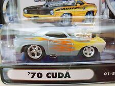 MUSCLE MACHINES - '70 PLYMOUTH CUDA - SUPERCHARGED - FLAMES - 1/64 DIECAST