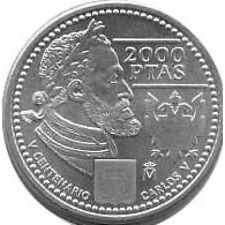 Spagna Juan Carlos 2000 pesetas 2000 d'argento  Carlos V