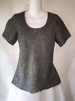 FLAX by Jeanne Engelhart Gray Linen Shapely Bias Cut Tunic Top Shirt Petite P