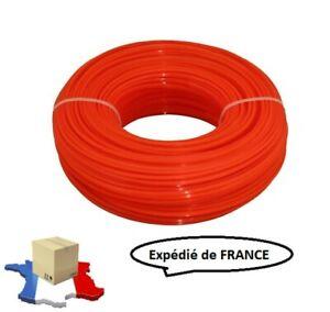 Fil carré pour coupe-bordure ou débroussailleuse, 3mm 100m, 2.4mm 100m ou 2.4mm