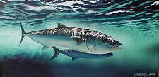 Kingfish King Mackeral Painting Saltwater Sport Game Fisherman Angler Trophy Art