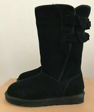 Size 5 UGG Womens Allegra Boots Black Double Bow Pull On Warm Winter 1016035
