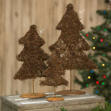 "Set of 3 ~ Grapevine Angel Vine Twig PINE TREES - 6"",9"",12"" Primitive Christmas"