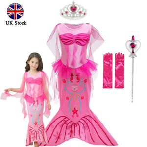 Kids Girl Children Mermaid Princess Dress Party Cosplay Costume With Accessories