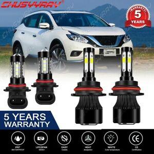 Para For Nissan Murano 2003-2007 Combo LED Faros altos / bajos + luz antiniebla