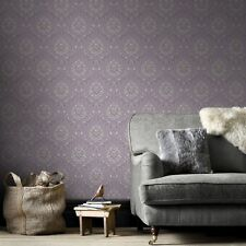 Boutique High Quality Jacquard Damask Print Purple/Cream Wallpaper