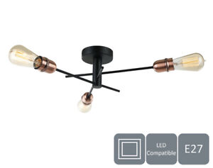 Modern 3 Lights Ceiling Light, Black with Copper Finish, E27/ES Cap Type