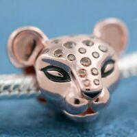 Sterling Silver Bead Charm Black Enamel Honey-coloured Stone Spots Rose Lioness