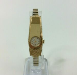 Vintage Caravelle Watch Women Gold Tone Retro Case Stretch Band New Battery