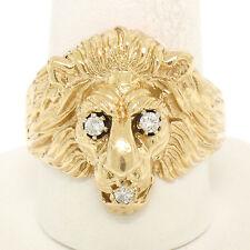 Estate Men's Detailed 14k Yellow Gold Lion Head Ring w/ Round Brilliant Diamonds