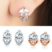 Women Ladies Rose Gold Tone Crystal Diamond Skull Pierced Studs Earrings Jewelry
