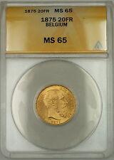 1875 Belgium 20 Fr Francs Gold Coin Leopold II ANACS MS-65 *Gem*