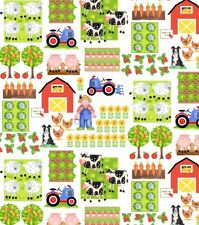 Apple Tree Farm By the yard Barn Tractor Baryard  Blank Quilting