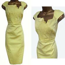 KAREN MILLEN ✩ CLASSIC YELLOW ORIGAMI FAN PLEATED FOLDED PENCIL DRESS ✩ UK 14
