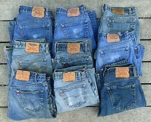 9 Lot 1980s 1990s VTG LEVI'S 501 Made In USA Button Fly Denim Blue Jeans 34x33