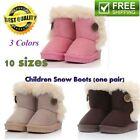 Children Non Slipping Fur Winter Girls Boy Kids Thicken Warm Shoes Snow Boots F3