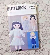 VINTAGE 1970's - EARLY 80's BUTTERICK PATTERN 3583 DOLLS AND CLOTHING UNCUT