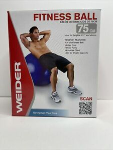 Weider Blue Fitness Ball With Hand Pump and Exercise Chart- 75cm