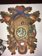 Cuckoo Clock West Germany Music Box w/ Guns Rabbit Pheasant Horn For Parts