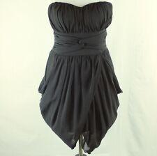 Women's Strapless Black Asymmetric Mini Dress Sweetheart Neckline Size:M