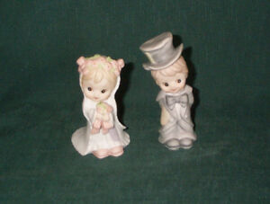 1984 Lefton Wedding Cake Topper Boy & Girl Christopher Collection Heavenly Hobos