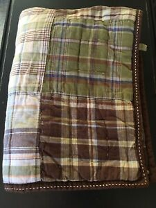 POTTERY BARN KIDS Blue Green Brown Plaid Quilted Standard Pillow Sham
