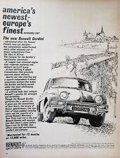 Lot of 4 Vintage 1961 Renault Gordini Ads