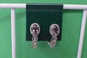 1.57ct Lavender Spinel / White topaz J-Hook Earrings Platinum Plated ~ Nice