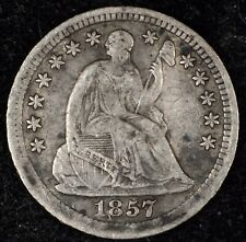 5 & 10¢ NIGHT! BEAUTIFUL, VF 1857 SEATED LIBERTY HALF DIME. NO RESERVE!