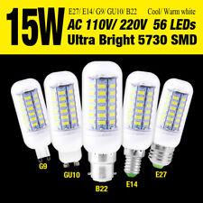 15W ULTRA BRIGHT LIGHTS 5730SMD LED CORN BULB LAMP WARM/COOL WHITE B22/E27/E14