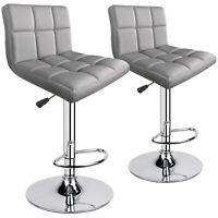 Modern PU Leather Adjustable Swivel Bar stools, Set of 2, Light Grey -2 Chairs