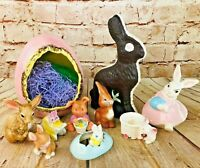 Vintage Lot of Easter Bunnies Eggs Ceramic Decorations cute
