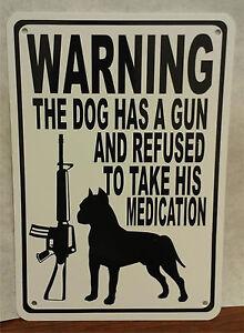 "Warning Dog Gun Bullet Protection AR 15 9""X12"" Man Cave Aluminum Sign"