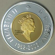 2002 Canada Silver Proof Toonie, 24 Kt Gold Plated