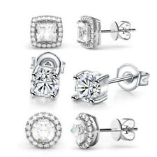 Set of 3 Best Selling Stud Earrings Made with Swarovski Crystal - 18K White Gold