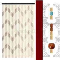 US 90X175cm 31 Lines Wooden Bead String Door Curtain Fly Screen Bath Porch Brown