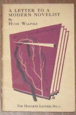 HOGARTH LETTERS #9 LETTER TO MODERN NOVELIST Hugh Walpole Virginia Woolf Leonard