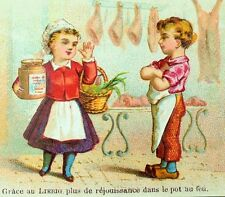 1870's-80's Lovely Liebig Beef Extract Lady At Butcher Holding Jar Card F84