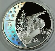 2008 Canada $25 Silver Holographic Proof Coin-Snowboarding-2010 Vancouver- w/COA