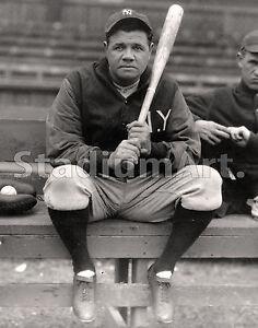 "Babe Ruth NY New York Yankee MLB Baseball Photo 11""x14"" Print Sitting on Bench"