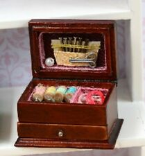 Dolls House Miniature 1/12th Scale Wooden Needlework Box