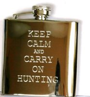 Keep Clam and Carry on Hunting Hip Flask with funnel Gift Boxed FREE ENGRAVING
