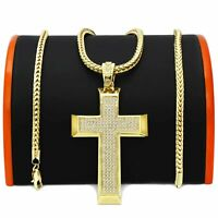 Mens 14k Gold Plated  CROSS  Pendant with 4mm 30 inch Franco Chain