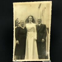 C. 1950 VTG RPPC Tall Brunette Bride Bridal Dress Church Parents PC Sweet Smiles