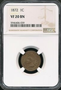 1872 Indian Cent NGC VF 20 BN *Beautiful Chocolate Brown!*  *Semi-Key Date!*