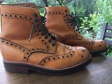GRENSON FRED Tan Brogue Boots Size 7 G Very Good Condition RRP £260
