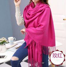 New Women's Fashion 100% Cashmere Pashmina Solid Tassel Neck Shawl Wrap Scarf