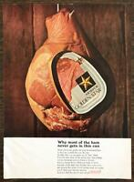 1966 Armour Golden Star Ham Print Ad Why Most of the Ham Never Gets in This Can