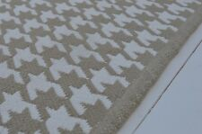 FLOOR RUG, 100% Cotton Houndstooth Weave Pebble Beige / White 90x150cm 3x5'